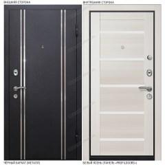 Входная дверь «Легран», модель «Мюнхен 1». Чёрный бархат – Белый ясень