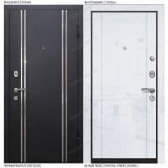 Входная дверь «Легран», модель «Мюнхен 2». Чёрный бархат – Белый люкс (глянец)